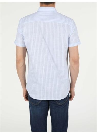 Colin's CL1054711_Q1.V1_BLE Mavi Regular Fit Shirt Neck Erkek Kısa Kol Gömlek Mavi
